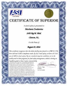 Merchants Foodservice Certificate of Superior